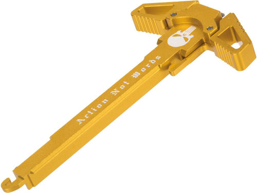"Angel Custom ""Swift"" Charging Handle for AR-15 M4 M16 Airsoft AEG Rifles (Logo: Gold / Actions Not Words)"