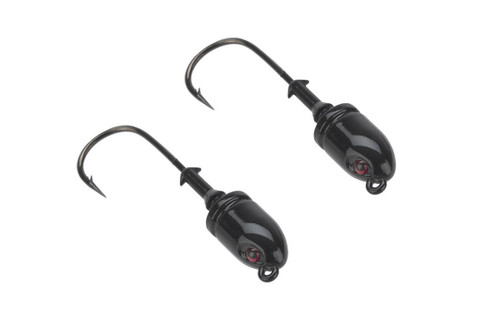Mustad Bullet Head 1 OZ 1X Strong - Pack of 2 (Color: Black UV with Red Eyes / Size 6/0)
