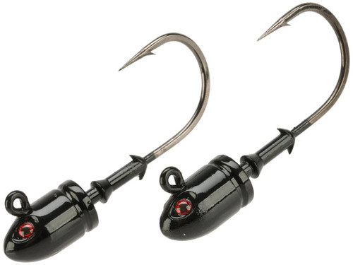 Mustad Bullet Head 1 OZ 2X Strong - Pack of 2 (Color: Black UV with Red Eyes / Size 6/0)