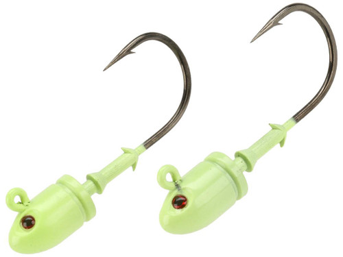 Mustad Bullet Head 1 OZ 2X Strong - Pack of 2 (Color: Green Glow UV with Red Eyes / Size 6/0)
