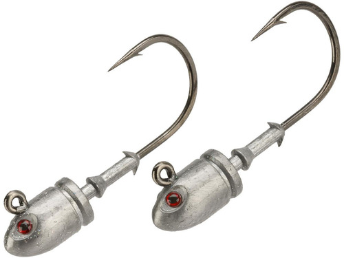 Mustad Bullet Head 1 OZ 2X Strong - Pack of 2 (Color: Plain with Red Eyes / Size 6/0)