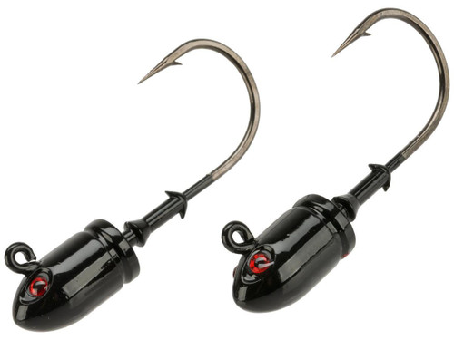 Mustad Bullet Head 1.5 OZ 2X Strong - Pack of 2 (Color: Black UV with Red Eyes / Size 7/0)