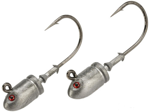 Mustad Bullet Head 1.5 OZ 2X Strong - Pack of 2 (Color: Plain with Red Eyes / Size 7/0)