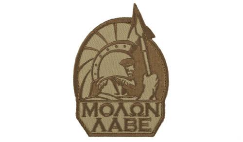 """Mil-Spec Monkey """"Molon Labe"""" Morale Patch (Color: Desert)"""