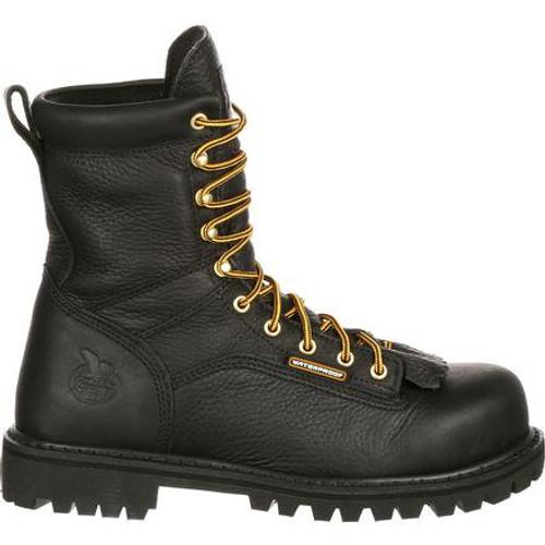 Georgia Boot Waterproof Lace-To-Toe Work Boot - Black