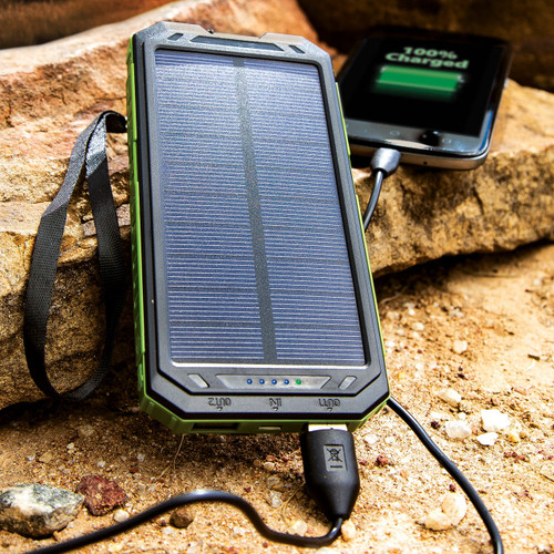 12000 MAH Solar Charger And Power Bank With Flashlight