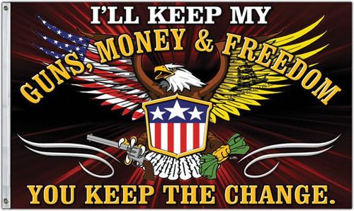 Guns Money And Freedom Flag