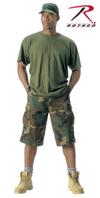 Military BDU Long Shorts - Woodland Camo
