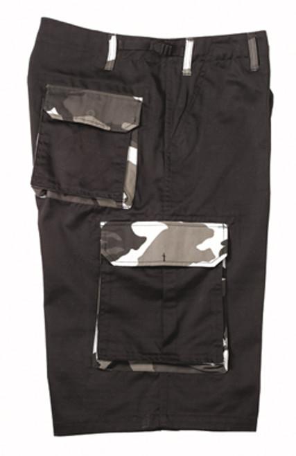 Military Cargo Shorts - Black w/Urban Camo Accents
