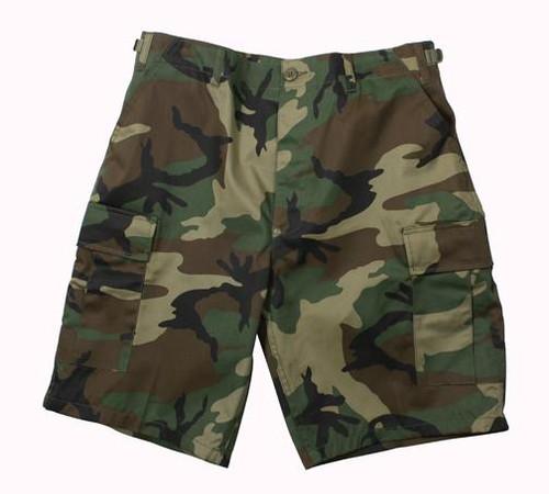 Military Cargo Shorts - Woodland Camo