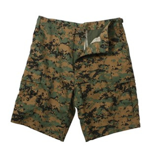 Military Cargo Shorts - Woodland Digital Camo