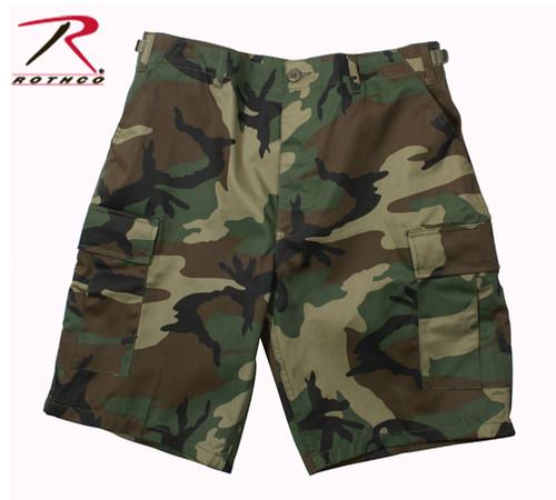 Military Rip-Stop Cargo Shorts - Woodland Camo