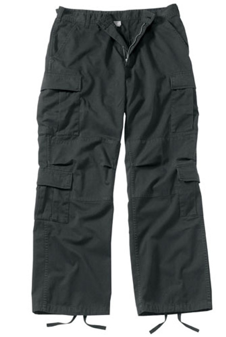 Vintage Fatigue Paratrooper Pants - Black