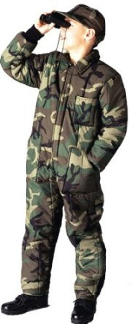 Kid's Insulated Coveralls - Woodland Camo