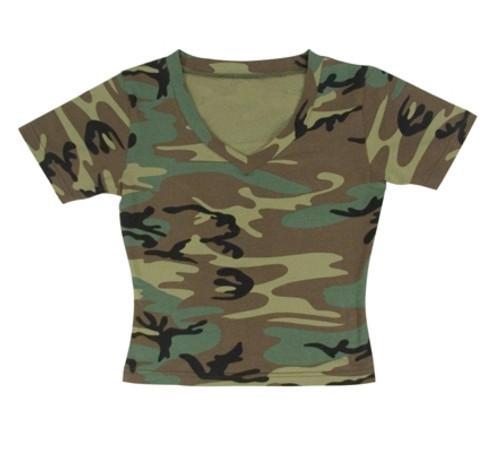 Women's V-Neck T-Shirt - Woodland Camo