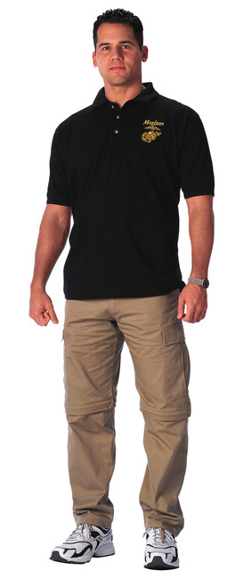 Military Embroidered Polo Shirt Marines - Black