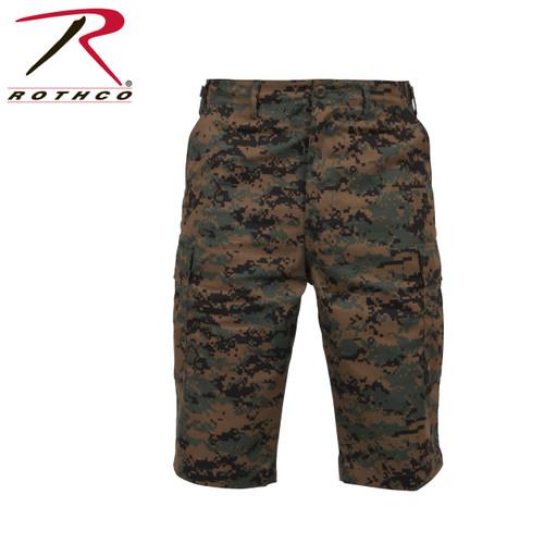 Military BDU Long Shorts - Woodland Digital Camo