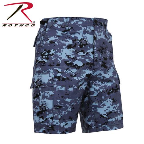 Military Cargo Shorts - Sky Blue Digital Camo