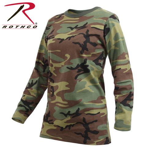 Womens Long Sleeve Camo T-Shirt - Woodland Camo