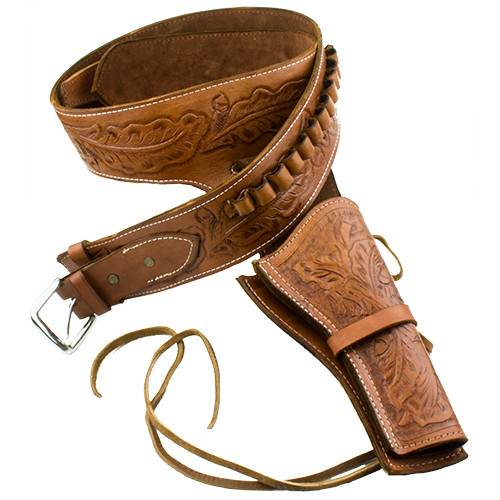 Deluxe Tooled Tan Leather Western Holster