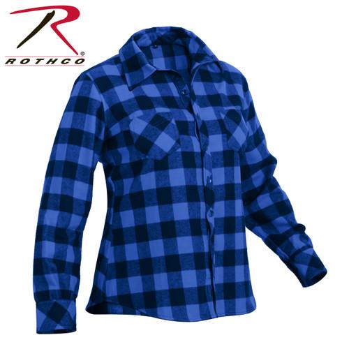 Rothco Womens Plaid Flannel Shirt - Blue/Black