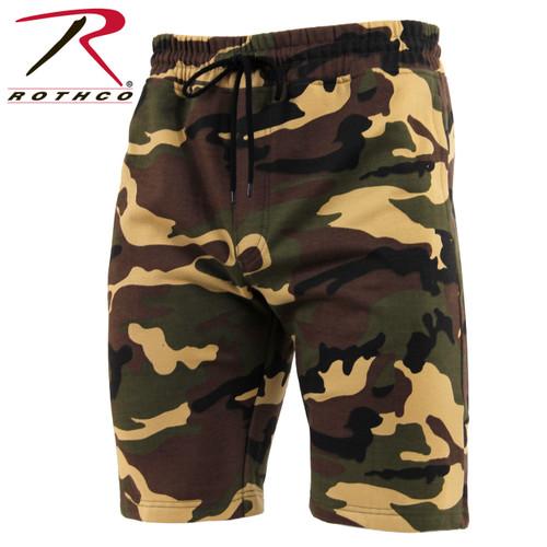 Rothco Camo Sweat Shorts - Woodland Camo