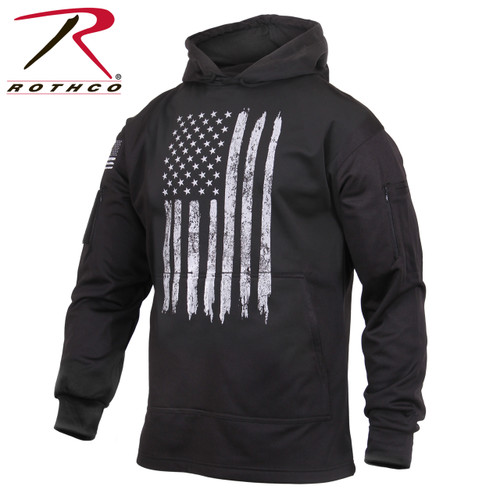Rothco Distressed US Flag Concealed Carry Hooded Sweatshirt - Black
