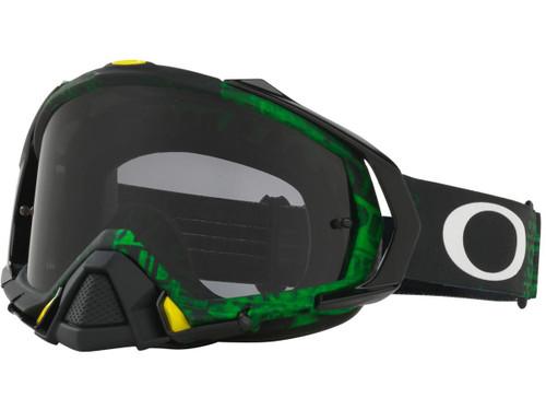 Oakley Mayhem ProMX Series Goggle (Color: Black Green / Dark Grey Lens)