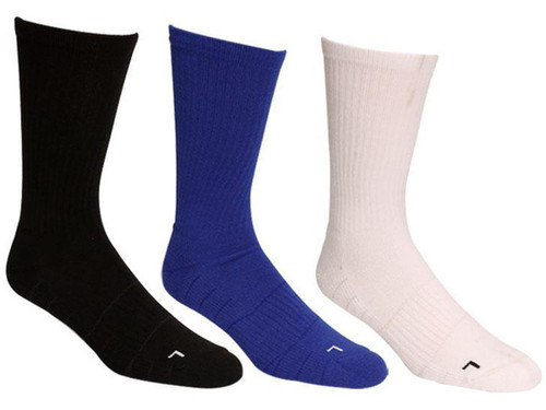 Under Armour Men's UA Elevated Performance Crew Sock (Color: Black, White, Blue / Large)