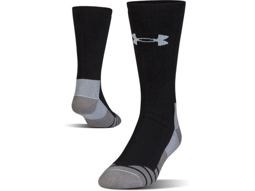Under Armour Men's UA Hitch Heavy 3.0 Boot Sock (Color: Black - Steel / Large)