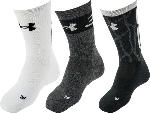 Under Armour UA Phenom Crew Sock (Size: Black Assorted / Large)