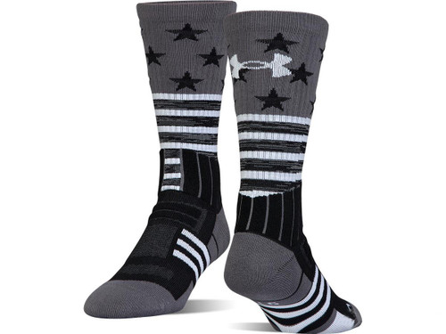 Under Armour UA Unrivaled Stars & Stripes Crew Sock (Color: Black - White / Medium)
