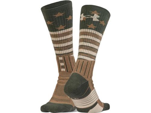 Under Armour UA Unrivaled Stars & Stripes Crew Sock (Color: Combat Green - Coyote Brown / Medium)