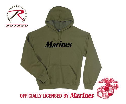 "Military Pullover Hooded Sweatshirt ""Marines"""