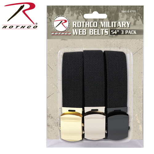 Rothco 54 Inch Black Military Web Belts - 3 Pack