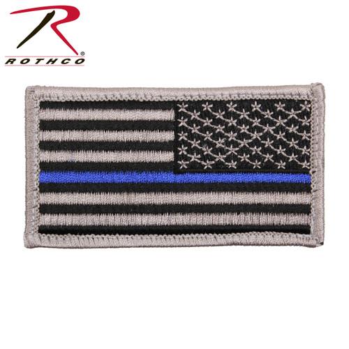 Rothco Thin Blue Line Police Reverse U.S. Flag Patch - Hook Back