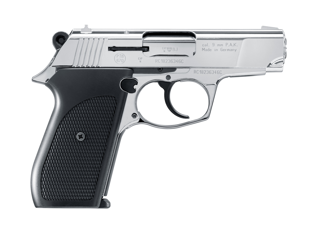 Rohm RG-88 9mm P.A.K. Blank Pistol -Polished Chrome