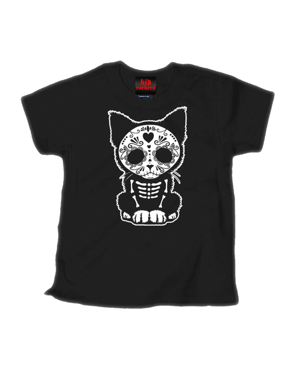 dafacec28c Day Of The Dead Sugar Skull Kitten Cat - Kid Rockers Children's Tee Shirt  Clothing (Black) - Aesop Originals