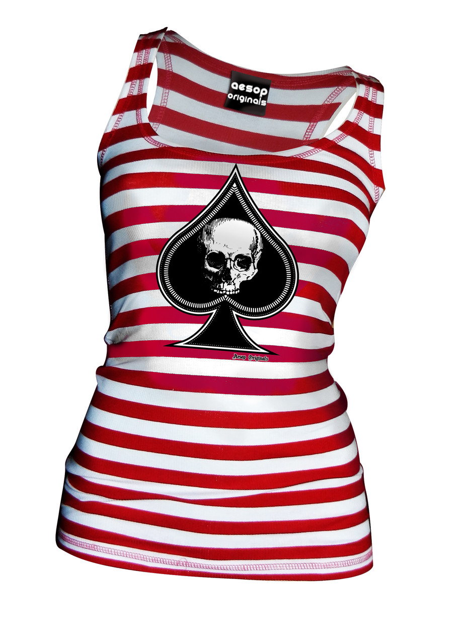 06d0c67d23e2ac Thee Ace Of Spades Red and White Striped Tank Top - Tank Top Aesop  Originals Clothing (Red - White) - Aesop Originals
