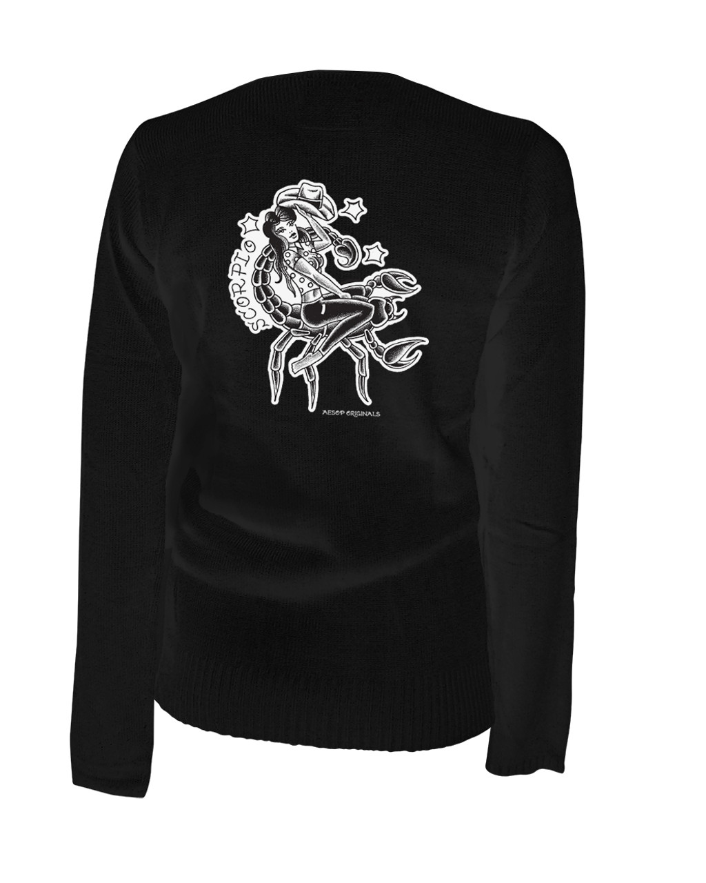 Scorpio - Retro Zodiac Pinup Tattoo - Cardigan Aesop Originals Clothing  (Black)