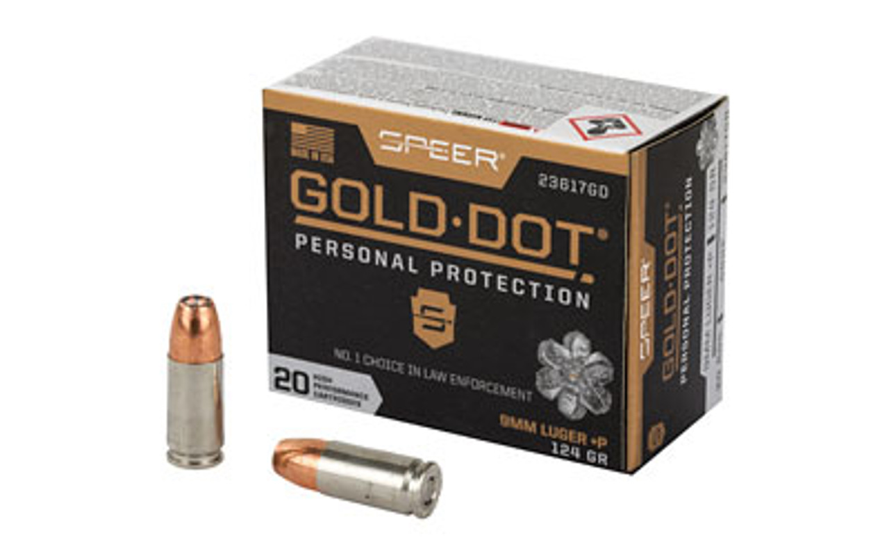Speer Gold Dot Personal Protection 9MM 124 Grain Hollow Point +P - 20 Round  Box