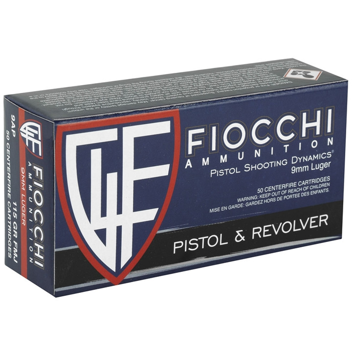 FIOCCHI 9MM 115GR FMJ - 50 ROUNDS 9AP