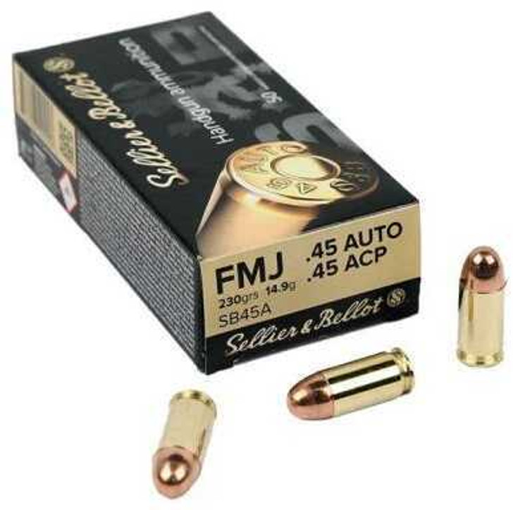 Sellier & Bellot 45 ACP AUTO Ammo 230 Grain Full Metal Jacket SB45A - 50 ROUNDS
