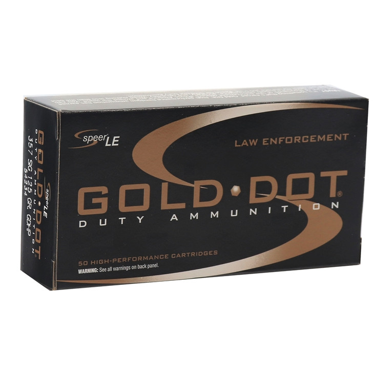 Speer Gold Dot LE Duty 357 SIG Ammo 125 Grain JHP 50 Rounds 54234