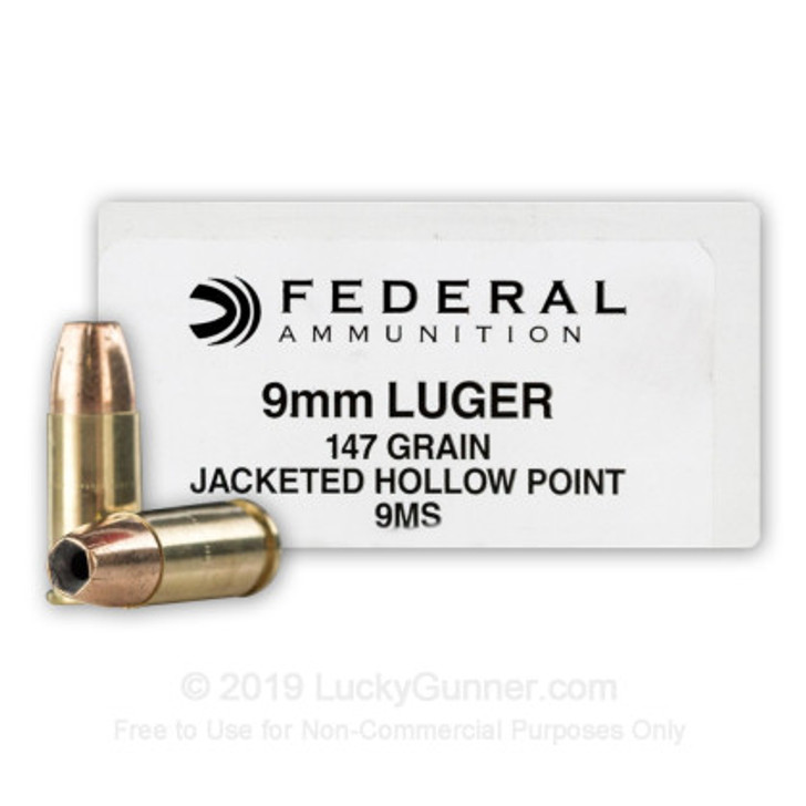 FEDERAL 9MM 147GRN JHP (9MS) - 50 ROUNDS