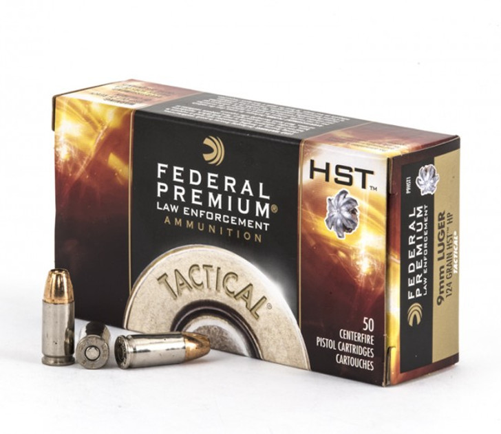 FEDERAL PREMIUM LAW ENFORCEMENT TACTICAL HST 124grn 9mm P9HST1 - 50 ROUNDS