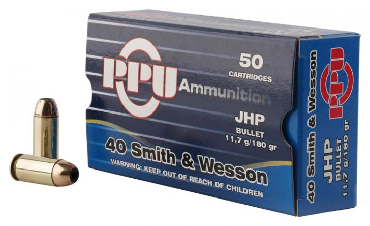 PPU 40S&W 180GR JHP - 50 ROUNDS