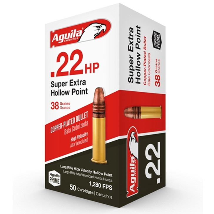 Aguila Super Extra 22 Long Rifle 38 Grain High Velocity Hollow Point - 50 Rounds