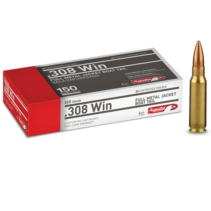Aguila 308 Winchester Ammo 150 Grain Full Metal Jacket - 20 Rounds