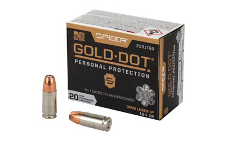 Speer Gold Dot Personal Protection 9MM 124 Grain Hollow Point +P 23617GD - 20 Round Box
